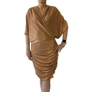 Alexia Admor Ruched Batwing Bronze Dress Size XS